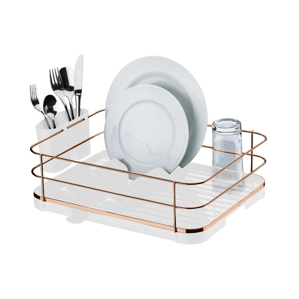 Escorredor de louça Originale em aço rose gold com branco