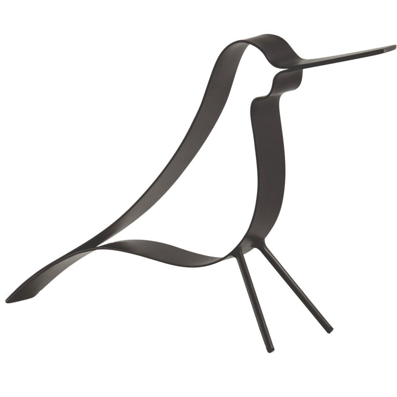 Escultura Pássaro preto 30 cm