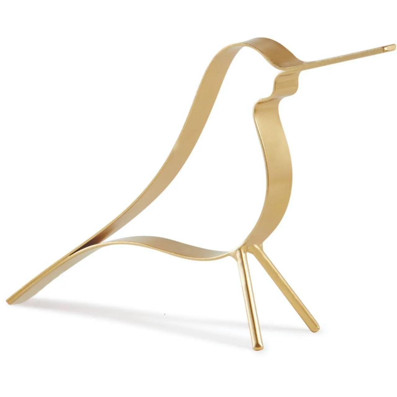Escultura Pássaro dourado 30 cm