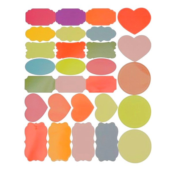 Etiquetas coloridas para organização