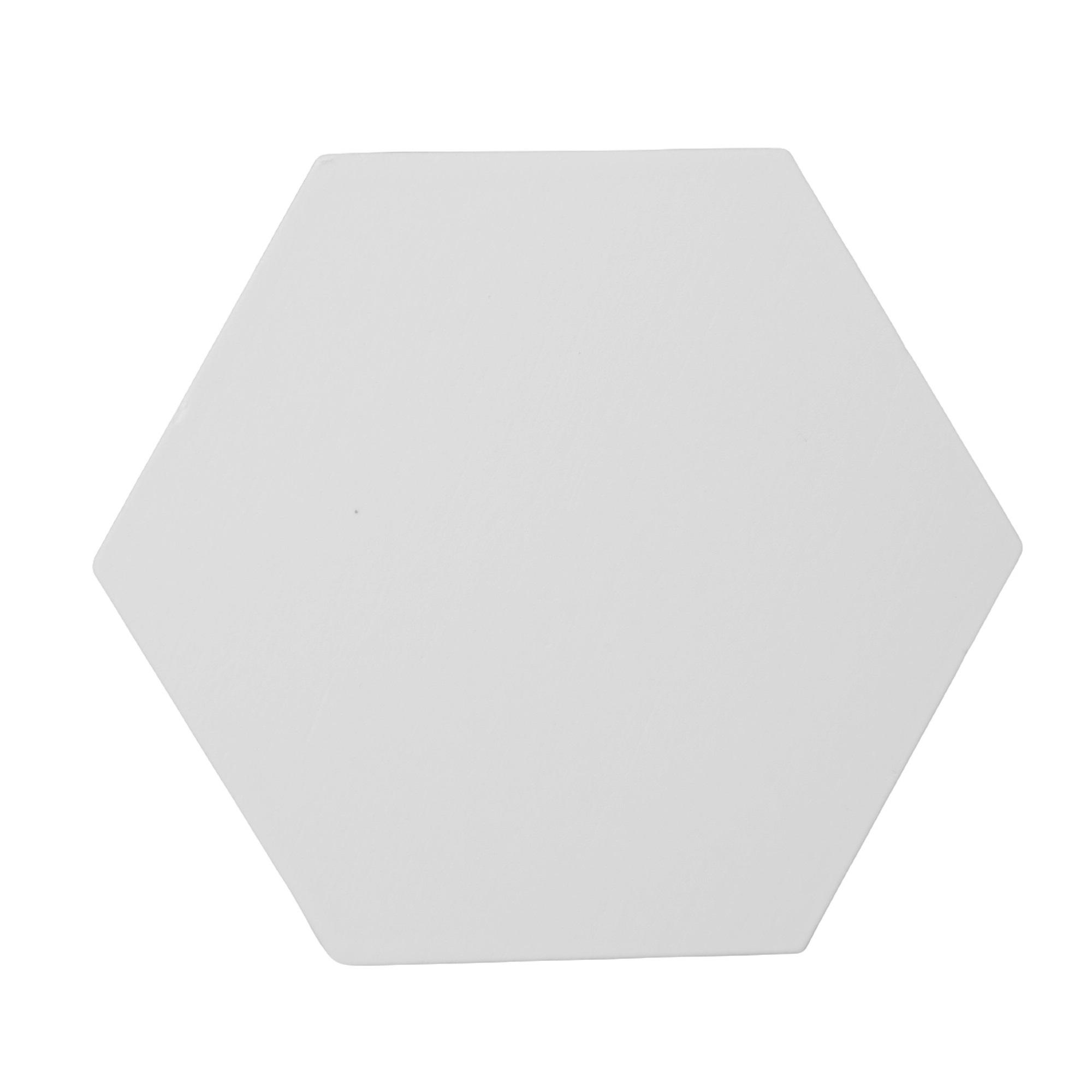 Gancho de madeira Hexágono branco