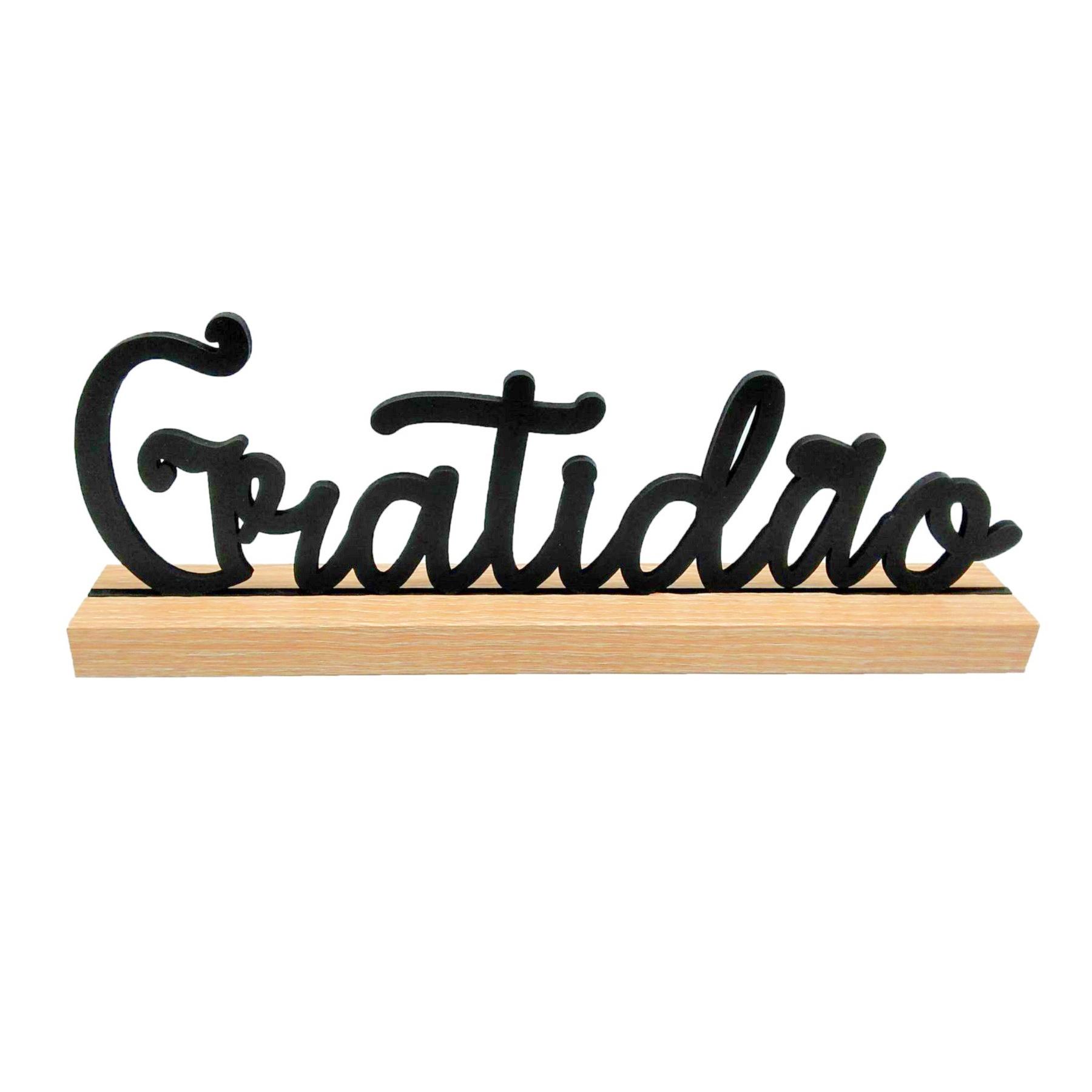 Letreiro Gratidão em madeira
