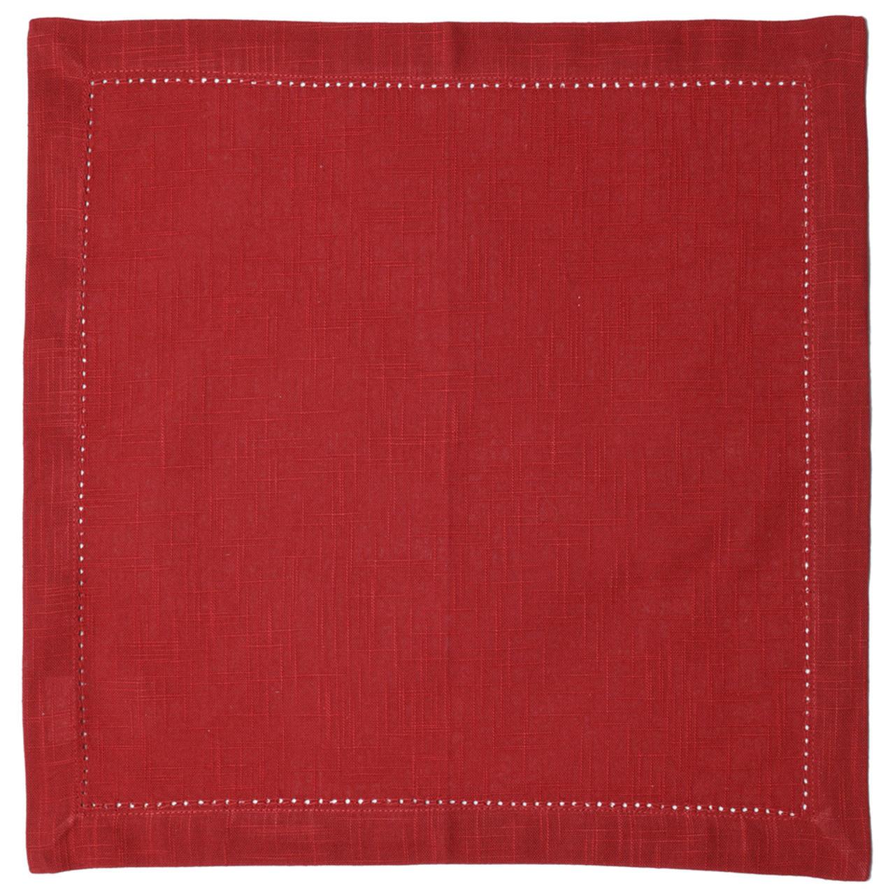 Guardanapos de algodão vermelho com ponto ajour 2 peças