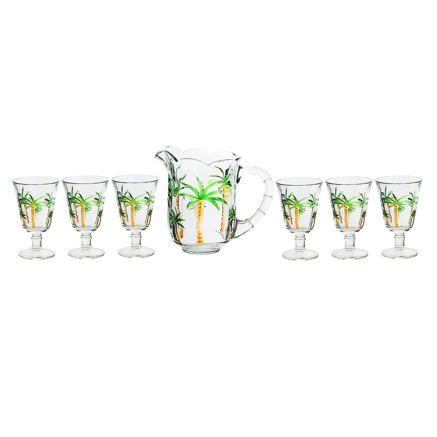 Conjunto de jarra com 6 taças em cristal Palm Lyor