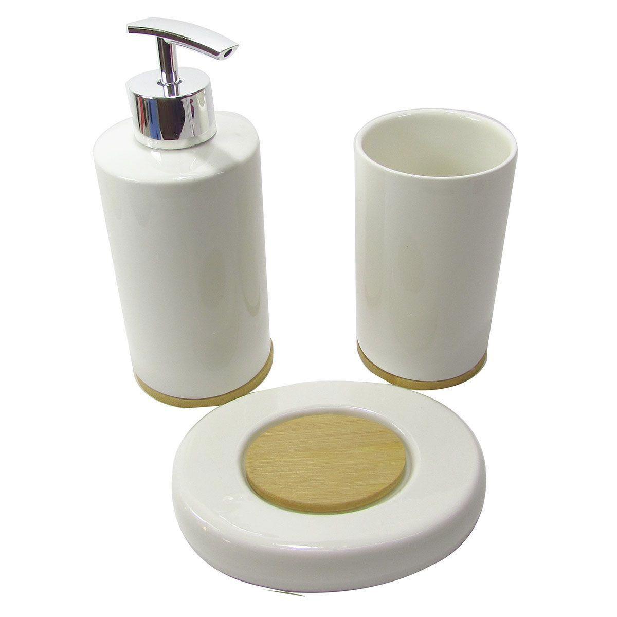 Jogo de banheiro em porcelana com bambu 3 peças