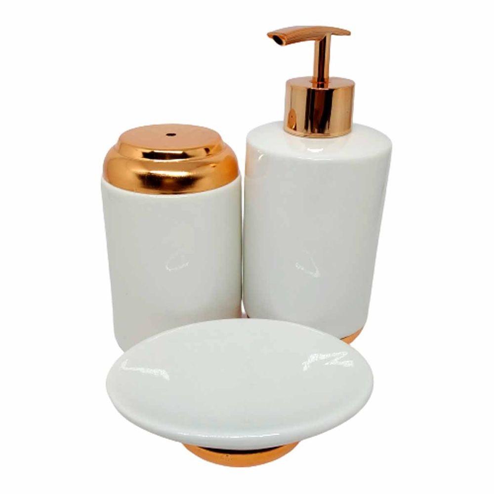 Jogo de banheiro em porcelana 3 peças