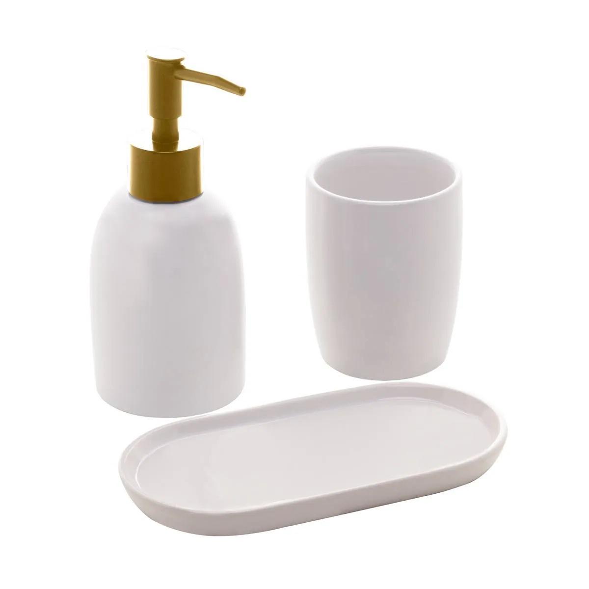 Jogo de banheiro Londres com tampa dourada Lyor 3 peças
