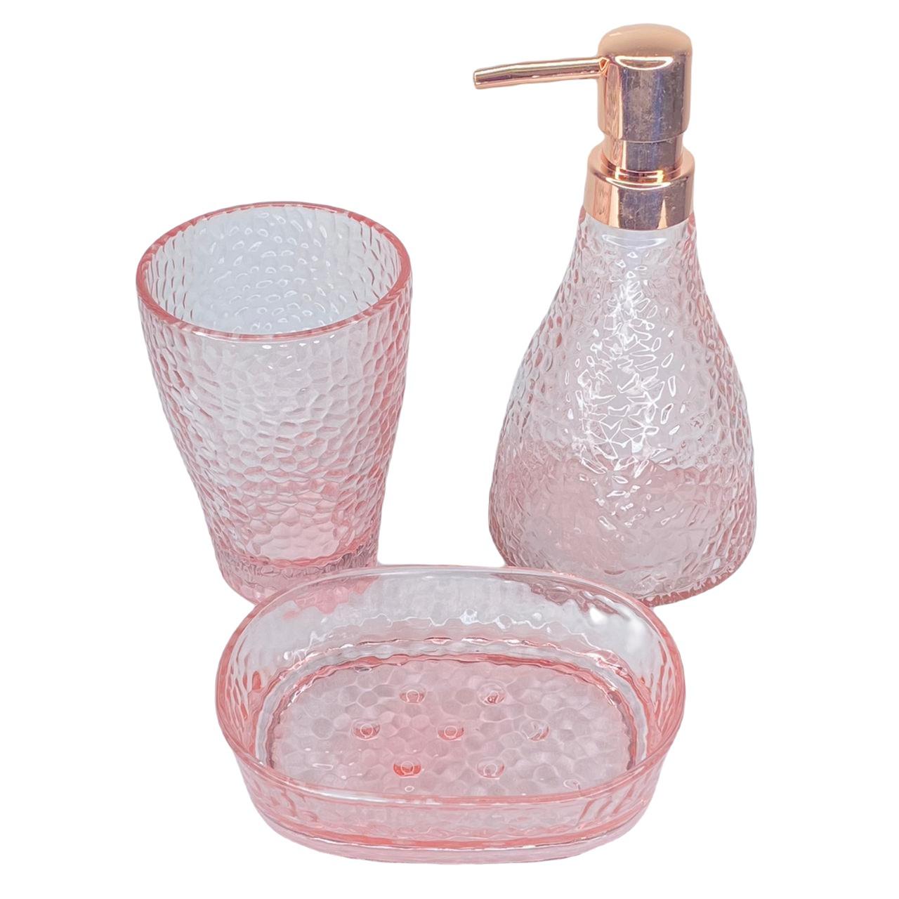 Jogo de banheiro em vidro rosa 3 peças