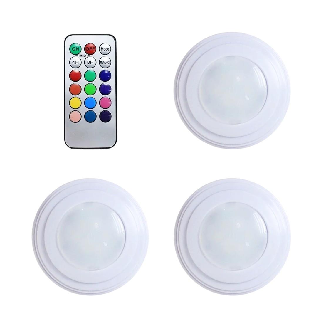 Kit 3 luminárias LED RGB com controle remoto