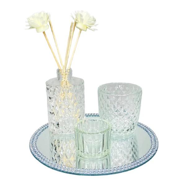 Kit decorativo difusor, porta vela e bandeja Candle Garden 4 peças