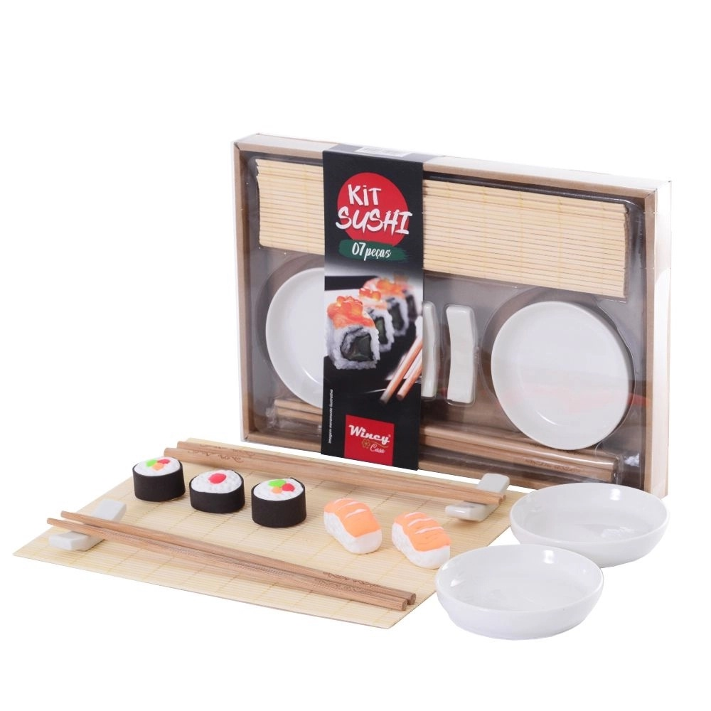 Kit sushi em porcelana e bambu 7 peças