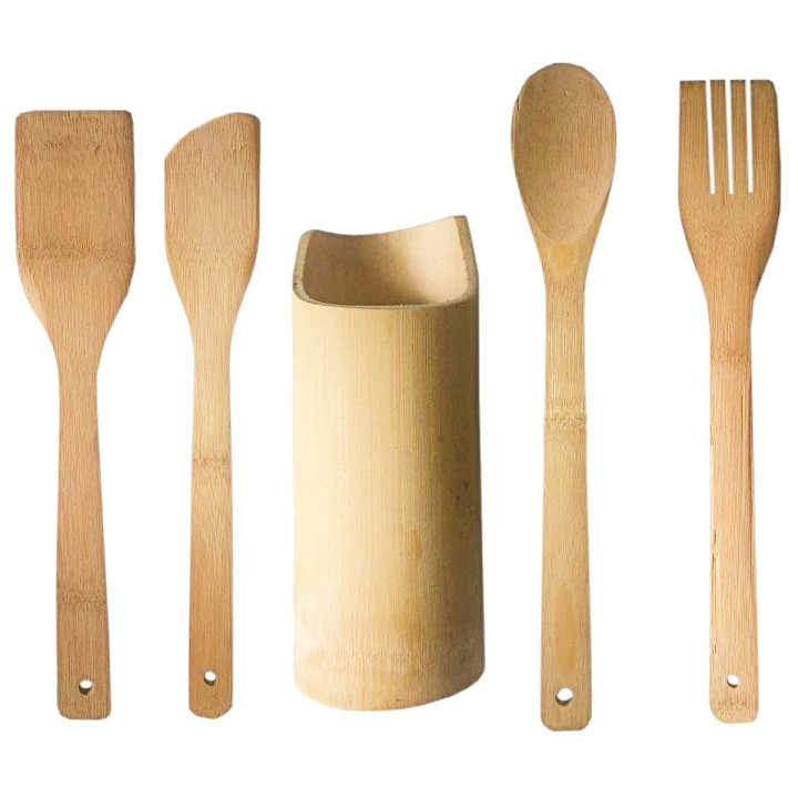 Kit utensílios de bambu 5 peças