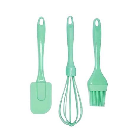 Kit utensílios de silicone verde 3 peças