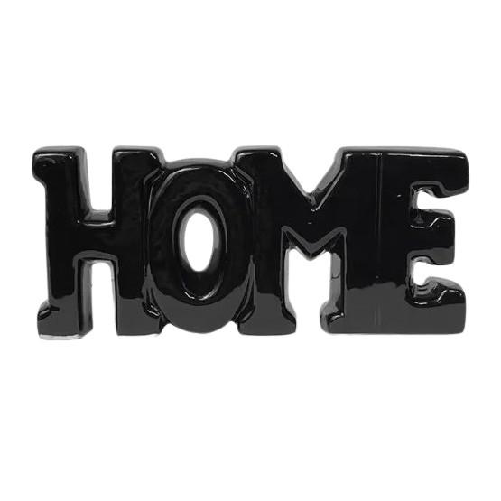 Letreiro Home em cerâmica preta