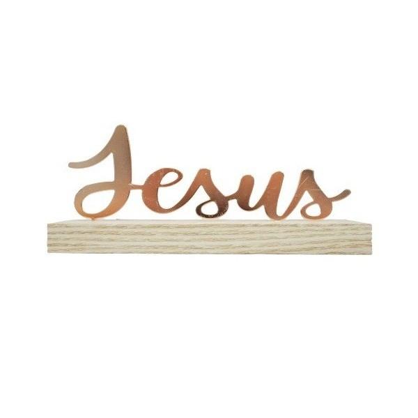 LETREIRO JESUS E DEUS EM METAL ROSE GOLD