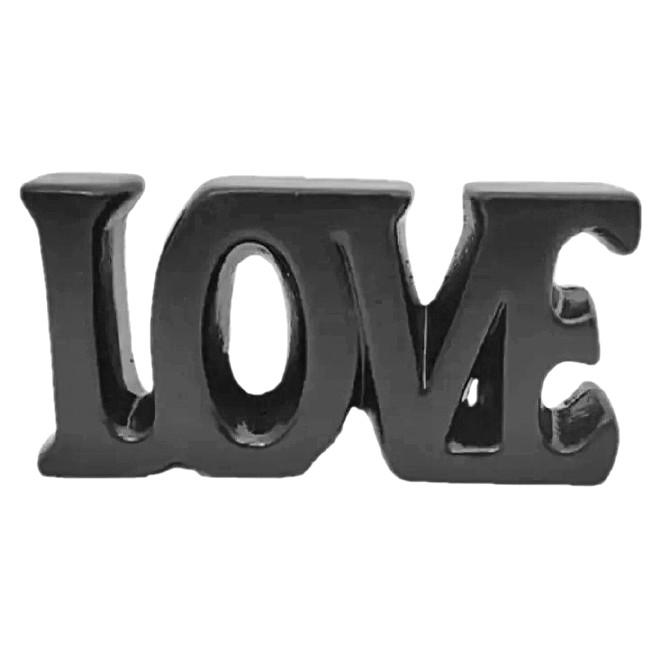 Letreiro Love em cerâmica preta