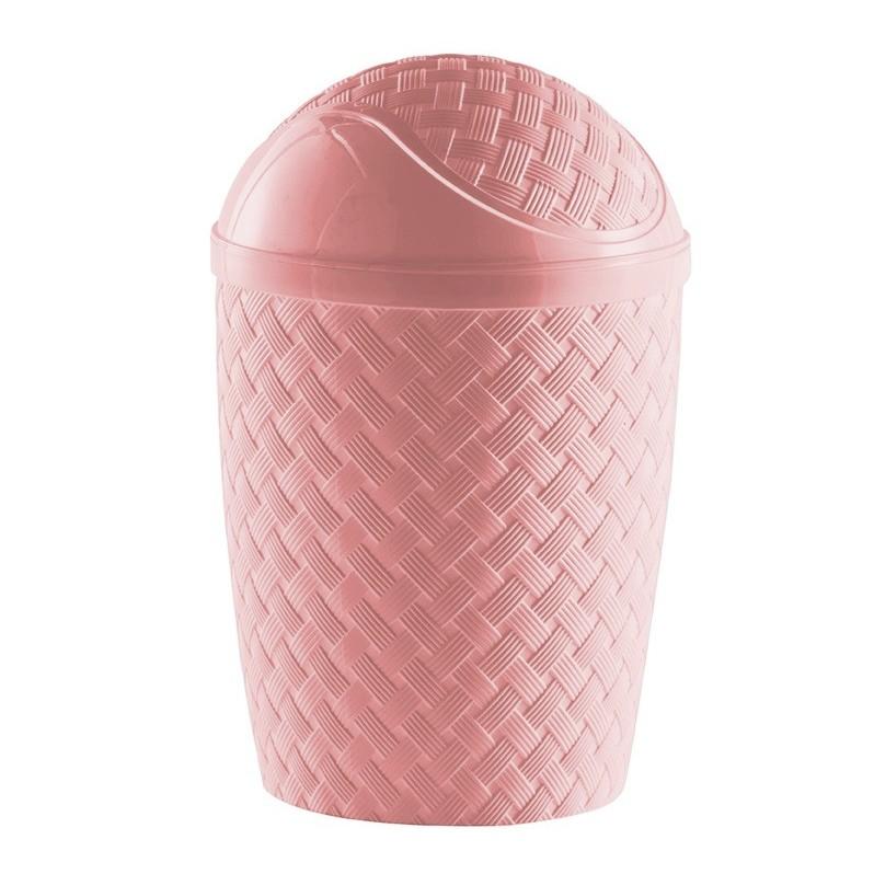 Lixeira com tampa basculante Rattan rose 4,2 litros