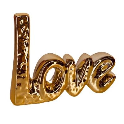 LOVE METÁLICO EM RESINA