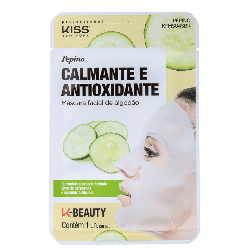 Máscara facial Pepino Calmante e Antioxidante Kiss NY
