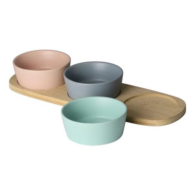 Petisqueira bambu com cerâmica 4 peças