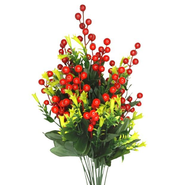 Planta artificial Berry com folhagem verde 55 cm