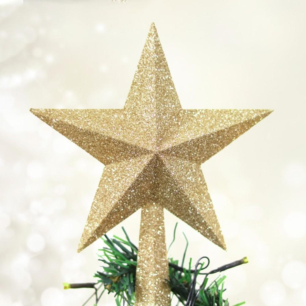 Ponteira Estrela de Natal dourada com glitter 20 cm