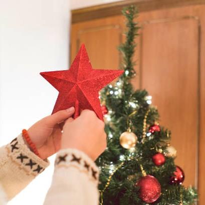 Ponteira Estrela de Natal vermelha com glitter 20 cm