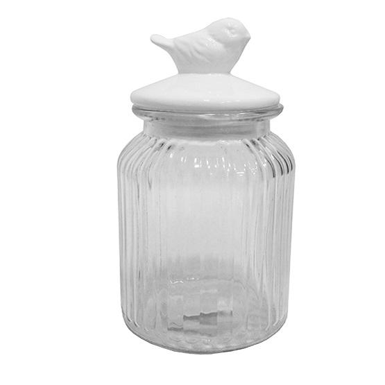 Pote hermético de vidro Pássaro 20,5 cm