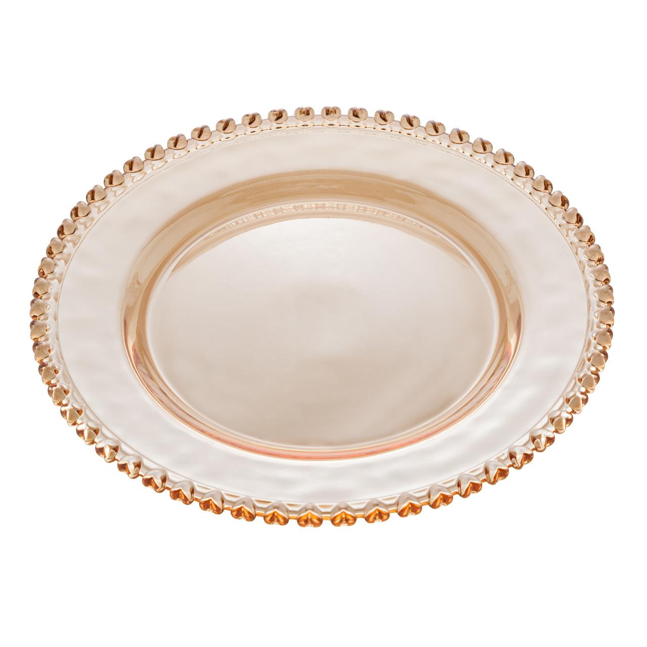 Prato de cristal âmbar metalizado Coração Lyor 28 cm