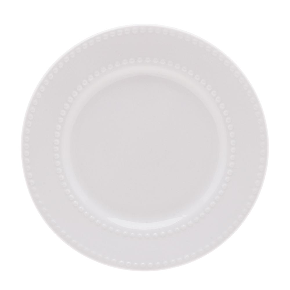 Prato para sobremesa em porcelana New Bone Pearl Lyor 20 cm