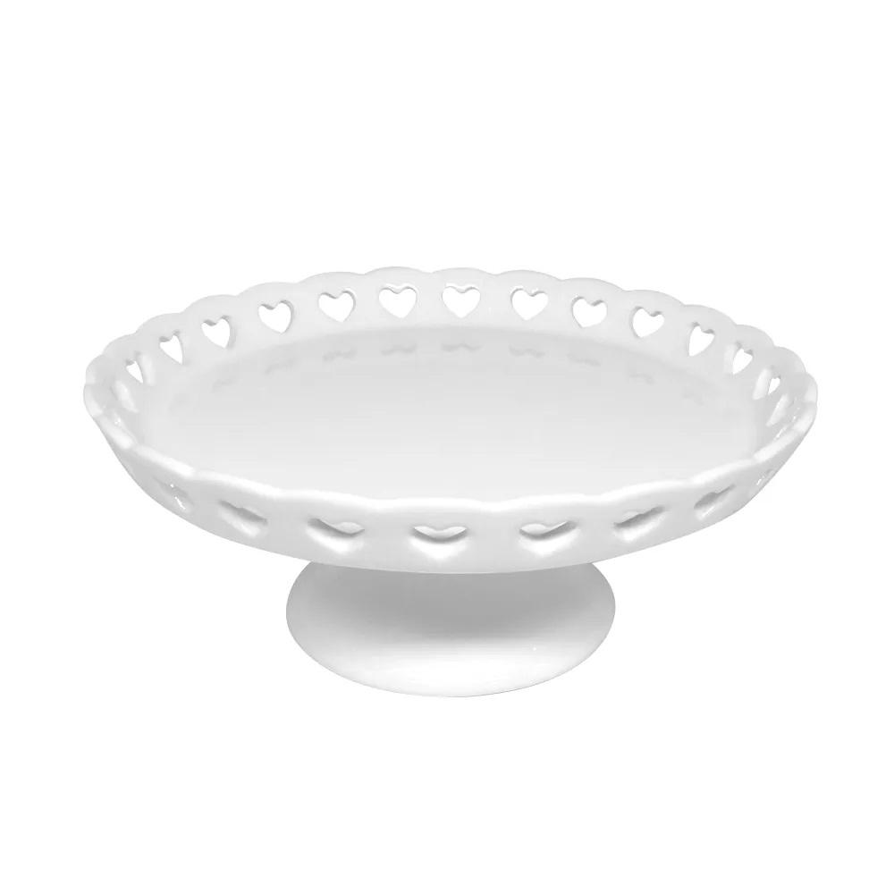 Prato de cerâmica com pé Coração Lyor 20,5 cm