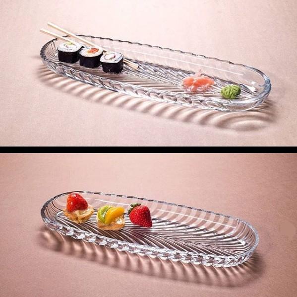 Prato oval em vidro