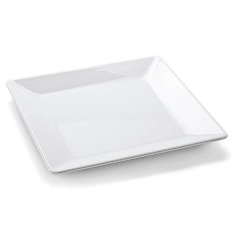Prato quadrado em melamina branca 21 cm