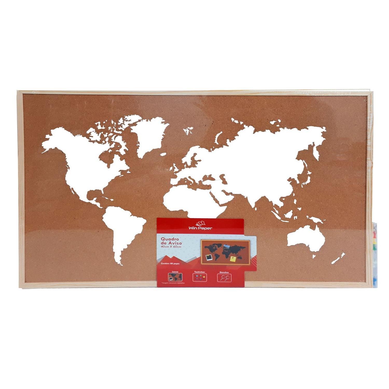 Quadro de aviso decorativo Mapa Mundi