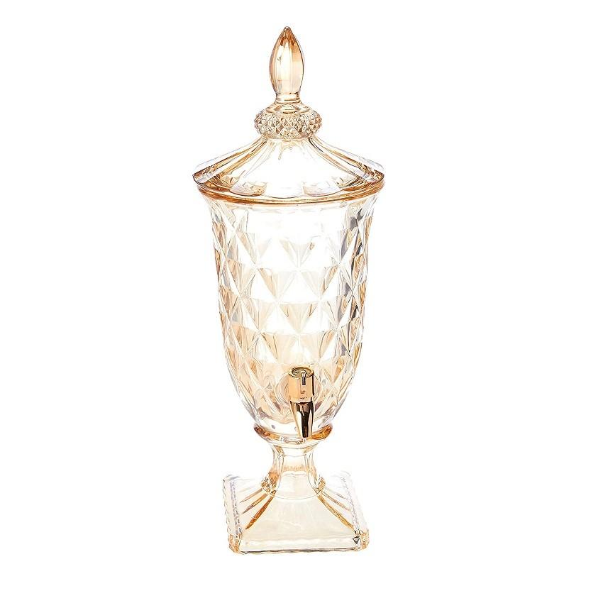 Suqueira âmbar Diamond com torneira dourada Lyor 2 litros