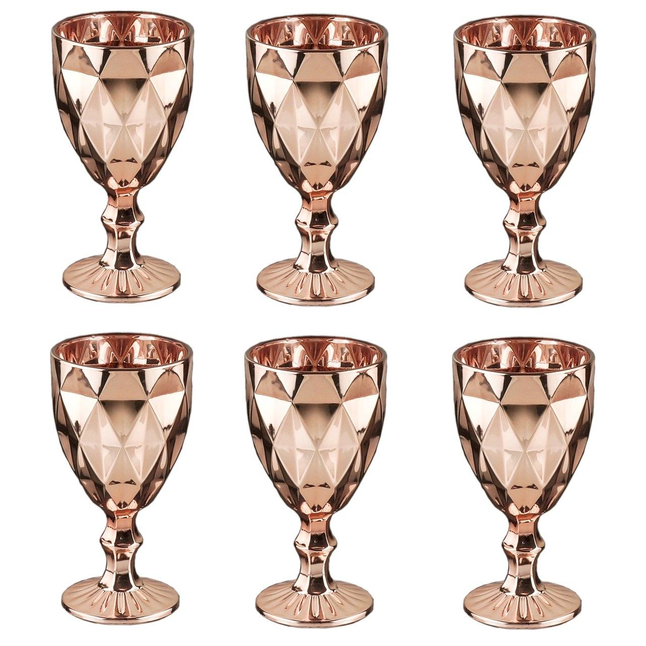 Taças de vidro rose golden Diamond Lyor 6 peças