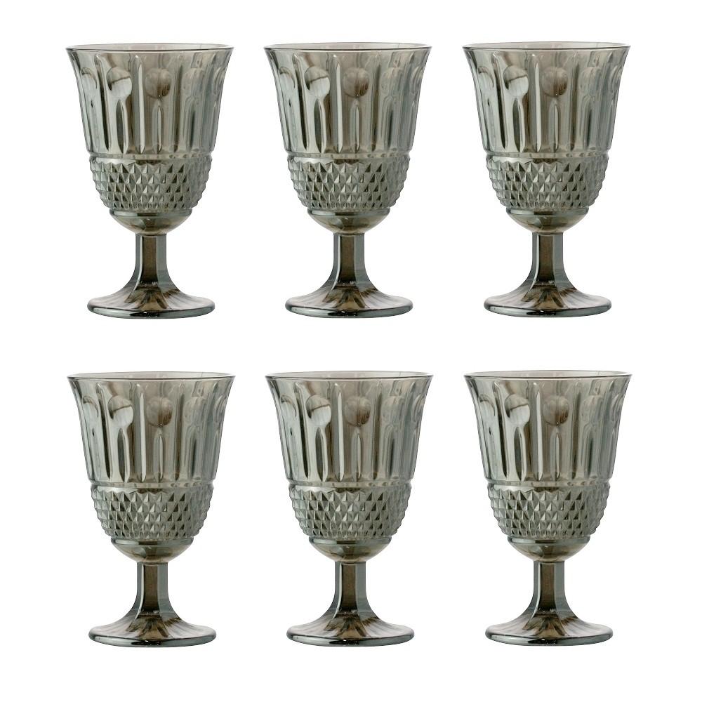 Taças de vidro cinza Marine Lyor 6 peças