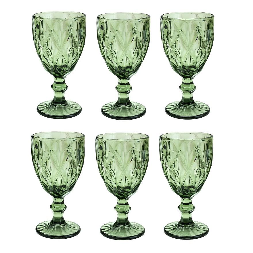 Taças de vidro verde Diamond Lyor 6 peças