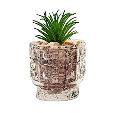 Vaso de vidro com mini suculenta artificial
