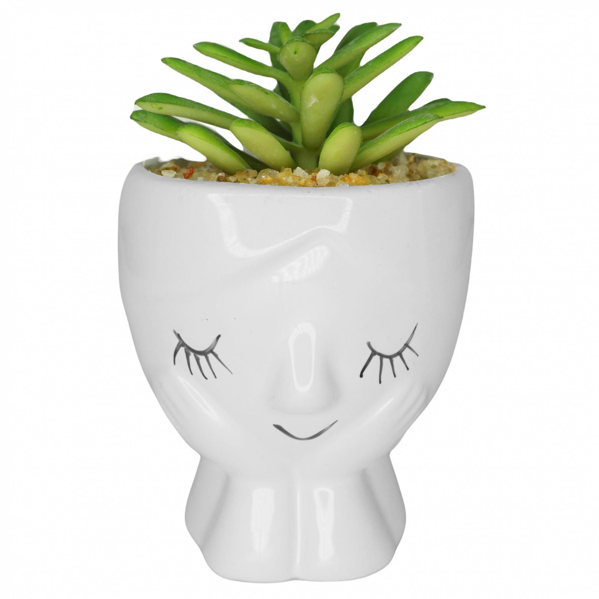 Vaso de cerâmica com mini suculenta artificial