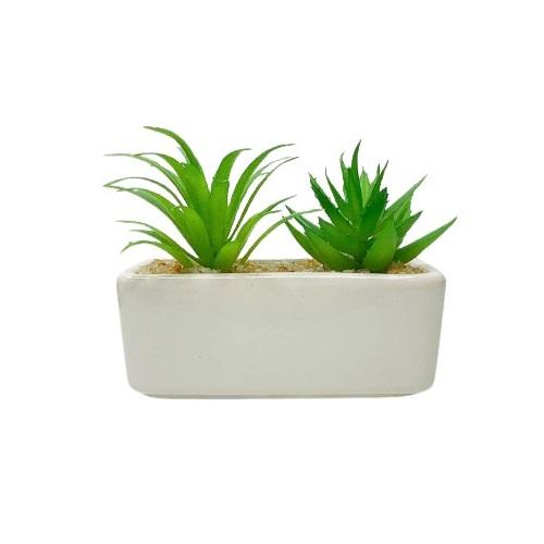 Vaso duplo de porcelana com mini suculenta artificial