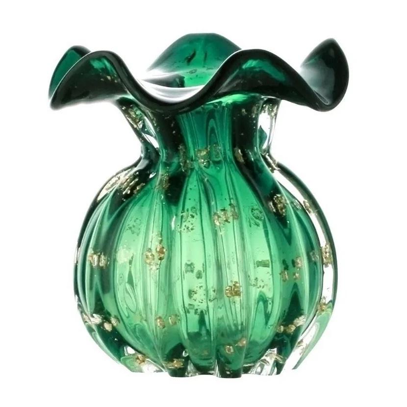 Vaso Italy em vidro verde esmeralda e dourado Lyor