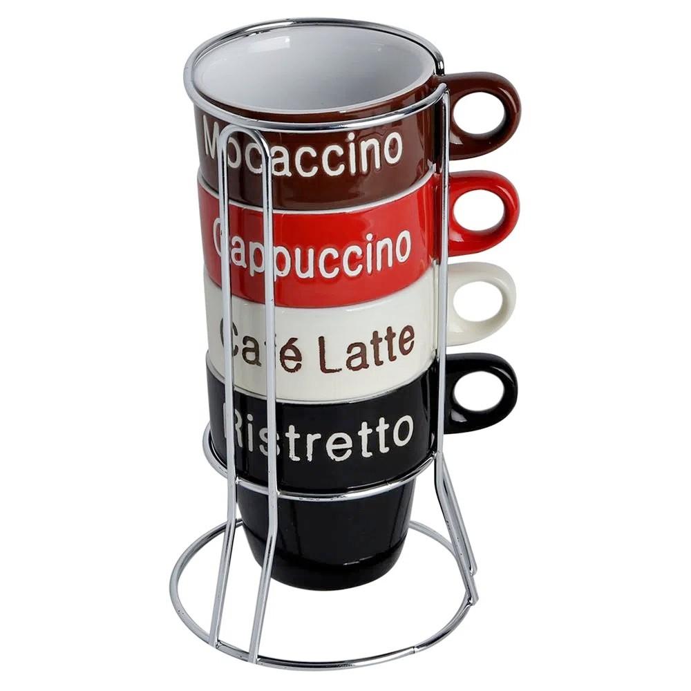 Conjunto 4 xícaras para café com suporte