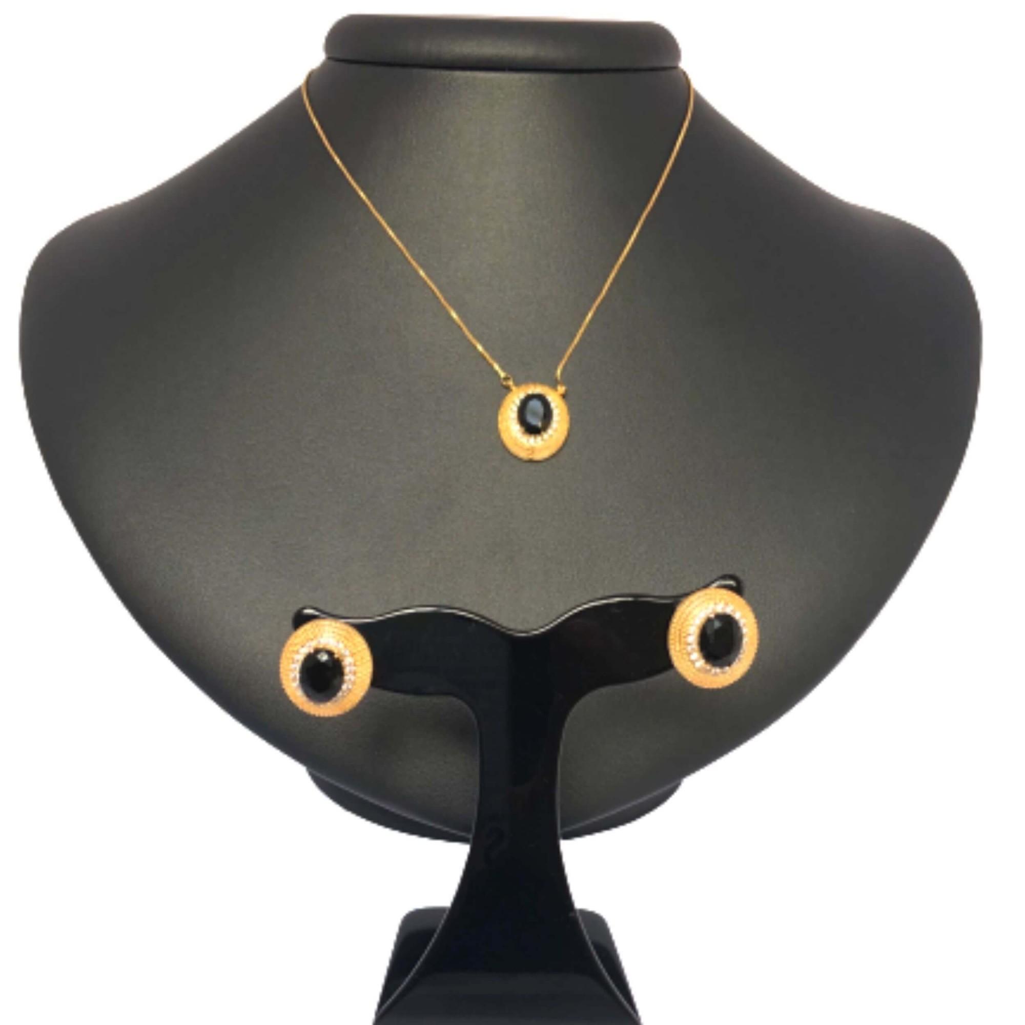 Conjunto pedra Ônix com Zircônia (item único) - Coleção Pedrarias