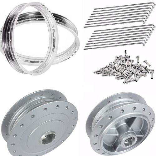 Jogo Aro Alumínio + Cubos E Raios Inox 4 Mm Titan 150 Tambor