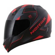 Capacete Norisk Ff391 Stripes Preto Fosco/cinza/vermelho