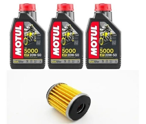 3 Litros De Oleo 20w50 Semi + 1 Filtro Oleo Tenere 250