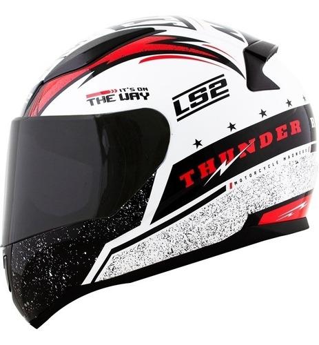 Capacete Ls2 Ff353 Rapid Thunder Branco/vermelho