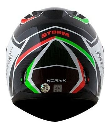 CAPACETE NORSIK FF391 STORM BLACK/GREEN/RED