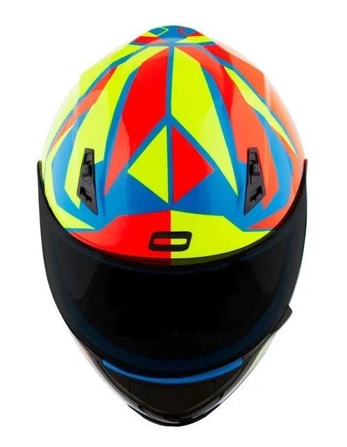 Capacete Stunt FF391 Azul/Amarelo/Vermelho - NORISK